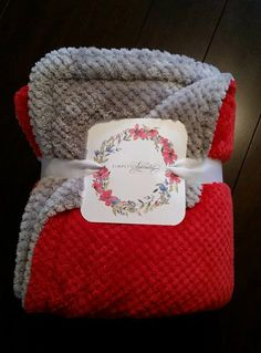 Minky Scarlet and Gray Blanket  Baby Toddler by SimplySplendidCo