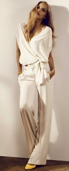 NO to jumpsuits ut like as separates. Chanel ~ Spring White Blouse w Full Leg Pant