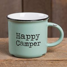 """This vintage mint green """"Happy Camper"""" camp mug will have everyone feeling nostalgic about special times spent with family and friends on campng trips! The generous size is perfect for coffee, soup or"""