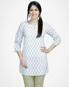 Cotton Printed Key Hole Bell Sleeves Tunic