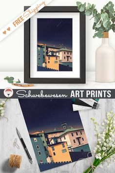 Fairy House Art Print Colorful Houses Geometric Print Italy Wall Art Home Decor Italian Town Cityscape Art House Illustration Minimalistic Poster Geometrical Artwork Italian Lover Starry Night Digital Print Geometric