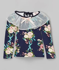 Dark Blue Floral Top - Toddler & Girls by Blossom Couture #zulily #zulilyfinds