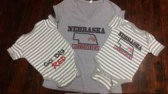 NEBRASKA CORNHUSKERS Women's Gray V neck T-shirt, Women's T-shirt, Nebraska T-shirt by MayberryHills on Etsy