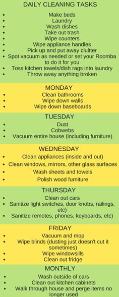 Here's a great cleaning schedule for the new year. Laminate it and use a dry erase marker to check off daily tasks.