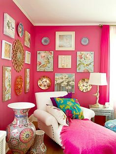 Flower art and pink walls