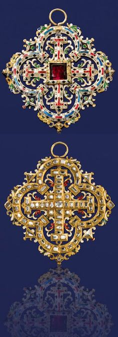 *A Renaissance Revival garnet, diamond and enamel pendant, 3rd quarter, 19th century the openwork quatrefoil pendant centering a square-shaped garnet within a surround of elaborate white, red, green, blue and black enamel; the reverse detailed throughout with table-cut diamonds; with fitted box signed Harvey & Gore, 4 Burlington Gardens, London; mounted in eighteen karat gold.
