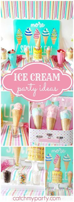 Ice cream and sprinkles are perfect for a summertime party! See more party ideas at CatchMyParty.com!