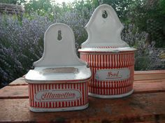 French Vintage Enamelware Rare Sel Red and White Allumettes BB Shabby French Country Living Enamel Ware, Vintage Enamelware, Shabby Chic Style, White Christmas, Country Living, French Vintage, French Country, Red And White, Buy And Sell