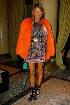 Anna Dello Russo at the Aquilano Rimondi Fall 2014 runway show in Milan, wearing Emilio Pucci.