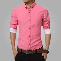 2016 New Fashion Casual Men Shirt Long Sleeve Trend Slim Fit Men Solid Color High Quality Mens Dress Shirts Men Clothes Slim Fit Dress Shirts, Slim Fit Dresses, Fitted Dress Shirts, Shirt Dress, Stylish Shirts, Casual Shirts For Men, Men Casual, White Casual, Stylish Men