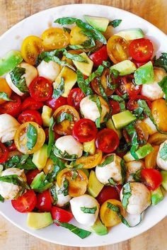 Jump to Recipe Print RecipeTomato Basil Avocado Mozzarella Salad with Balsamic Dressing – you'll love this refreshing, healthy, Mediterranean style salad. Made with fresh ingredients, it's perfect for the Summer! This recipe is simple and uses just a few ingredients: tomatoes, fresh basil, avocado, Mozzarella cheese, and easy homemade balsamic dressing. One of my favorite...Read More