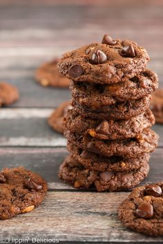These Chewy Flourless Chocolate Peanut Cookies are soft and nutty. You won't be able to resist going back for more. Naturally gluten free and dairy free!