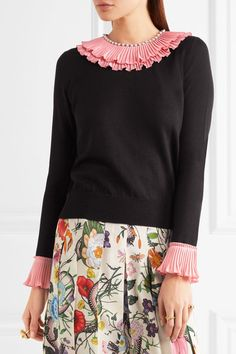 Gucci - Embellished Ruffled Silk, Wool And Cashmere-blend Sweater - Black - x small