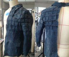 octocheung.com handmade devore Half-body Toile Make by hand 3D felt and non-felt techniqueTested on window-pane check Original check become a new check with texture Technical Information supported by Australian Wool Innovation