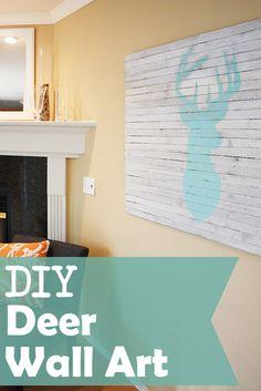 DIY Deer Wall Art Tutorial im definitely making one of these! animals, deer art, basement walls, diy wall art, deer wall art, deer decor diy, diy deer, art tutorials, art pieces