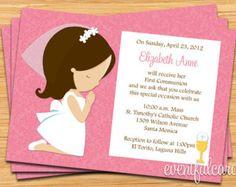 Primera invitación de comunión para niña de por eventfulcards