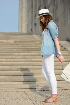 White Pants, Chambray Shirt, Panama Hat love this but not with the hat