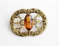 SALE- Antique Art Nouveau Amber Brown Glass Stone Brooch- Huge Statement Flower Vine Costume Jewelry Pin