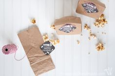 Gift the gift of popcorn this Christmas with these adorable Popping In free printable Christmas tags. Perfect for neighbor or teacher gifts.   Housefulofhandmade.com