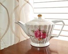 Floral Teapot, Vintage Teapot, Japanese Teapot, Ceramic Tea Pot