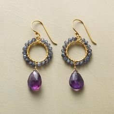 WILD IRIS EARRINGS -- The sweet blue and rich purple of wild iris in handcrafted gold vermeil earrings combining sparkling iolite and faceted amethyst. Wire Jewelry Earrings, Bead Earrings, Earrings Handmade, Beaded Jewelry, Unique Jewelry, Handmade Jewelry, Jewelry Design, Women Jewelry, Jewellery