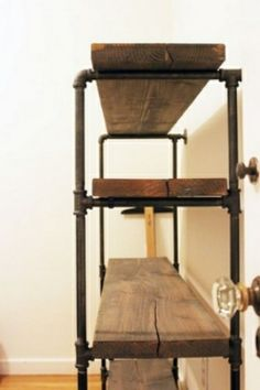 Diy industrial bathroom shelf via akeenlife http://akeenlife.com/2012/11/13/diy-rustic-shelf-building/