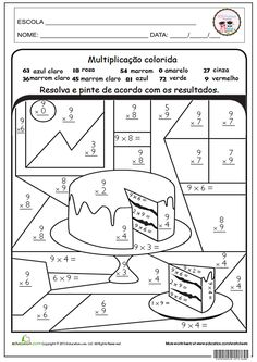 SOS PROFESSOR-ATIVIDADES: Multiplicação colorida Primary Teaching, Primary Maths, Teaching Math, Math Charts, Math About Me, Third Grade Math, Math Fractions, Math Notebooks, Math Worksheets