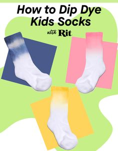 Now here is an idea to add to your cool-mom arsenal. Dip dyeing socks will not only let your kids be creative, but it will also teach them about color and give them something cool to wear! Show some spirit by picking school colors or mix some of our dyes together using our Color Formulas to create their favorite color. The options are endless and so much fun will be had! DIY with Rit Dye. Crafts For Girls, Kid Crafts, Bored Kids, Rit Dye, Sock Puppets, Plastic Table Covers, Rubber Gloves, Kids Socks, School Colors