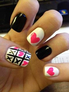 Black Pink White Fingernails