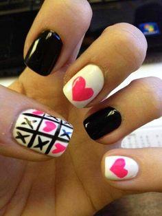 Black Pink White Fingernails
