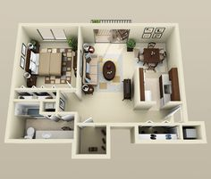 50 One Bedroom Apartment& Plans Apartment Layout, 1 Bedroom Apartment, Apartment Design, Modern House Plans, Small House Plans, House Floor Plans, Layouts Casa, House Layouts, Home Design Plans