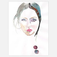 Created by Manhattan artist Samantha Hahn, Looking is an original work composed with a combination of concentrated inks and watercolor applied by the artist with a quill and brush. A woman peers out from the center of the portrait, staring with an at once unquestioning and pointed expression.
