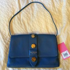 Sky blue Olivia Clutch Isaac Mizrahi Olivia Clutch/ shoulder bag in Sky Blue. Genuine leather. 100% authentic. Tag attached. Comes with dust bag. An amazingly crafted bag. NO TRADES. Price is suggested so make me an offer I can't resist! Isaac Mizrahi Bags