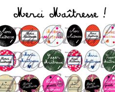 ° Merci Maîtresse ! ° - Page de collage digital cabochons - 60 images : Images digitales pour bijoux par blackpearl