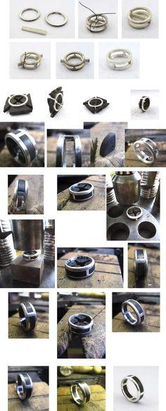 Bague argent/ébène, la fabrication complète. - Anello con inserti in ebano - ebony and silver ring, tutorial