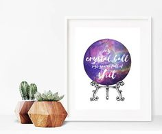 Items similar to My Crystal Ball Says You're Full of Shit Watercolour and Ink Art Illustration Print - or on Etsy Crystal Ball, Watercolor And Ink, Ink Art, A5, I Shop, Illustration Art, Place Card Holders, Crafty, Crystals