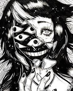 Arte Horror, Horror Art, Horror Drawing, Dark Art Illustrations, Illustration Art, Manga Art, Anime Art, Japanese Horror, Satanic Art