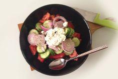 dukan-easy-recipes: Greek salad Dukan style - Χωριάτικη α λα Dukan Easy Recipes, Easy Meals, Dukan Diet, Greek Salad, Acai Bowl, Breakfast, Food, Easy Keto Recipes, Acai Berry Bowl