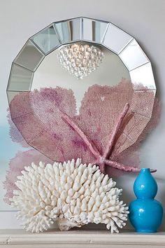 Seaside Vignette...love the chandelier's reflection in the mirror...