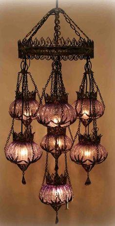 (ottoman-style chandelier from yurdan) Yurdan finds the best pieces. I found Yurdan via my friend Tuatha.