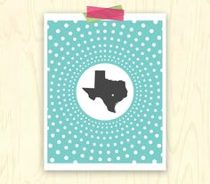 Texas State Dots Modern Wall Art Print from Three Bees Designs