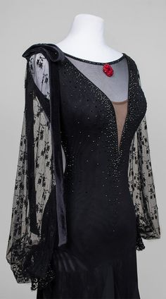 Black modest ballroom dance dress