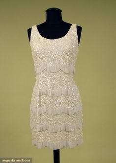 Beaded & Sequinned Short Party Dress, 1970s, Augusta Auctions, October 2007 Vintage Clothing & Textile Auction, Lot 971
