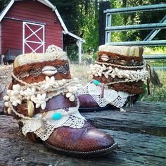 Custom Upcycled Vintage Cowboy Boho Boots- Oregon Trail