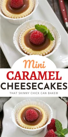 Mini Caramel Topped Cheesecakes - An exquisite combination of flavors and textures in these individual cheesecakes! Best Cheesecake, Homemade Cheesecake, Cheesecake Desserts, Homemade Desserts, Easy Desserts, Dessert Recipes, Individual Cheesecakes, Mini Cheesecakes, Tart Recipes