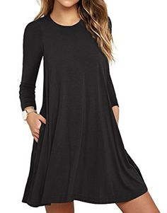 7a3e7d43f32  LILBETTER Women s Basic Long Sleeve Pocket Casual Loose T-Shirt Dress   Type  Long Sleeve dress  Neckline  Round Neck  Dress Length  Above Knee  Unique style ...