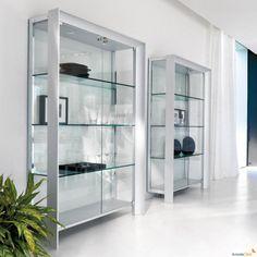 Miami display cabinet with satin anodized aluminium profile - ARREDACLICK
