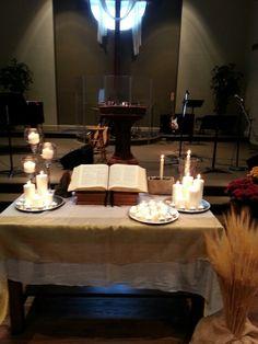 CUMC Altar for All Saints Day Church Altar Decorations, Table Decorations, Alter Decor, Altar Design, Liturgical Seasons, All Souls Day, Church Windows, All Saints Day, Church Banners