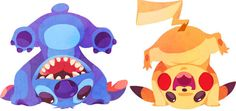 Stitch ( Lilo and Stitch ) and Pikachu.   When 10 Disney Characters Met Pokémon OMG THIS IS PERFECT!!!