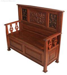 Art Nouveau Oak Box Settle Bench - Antiques Atlas